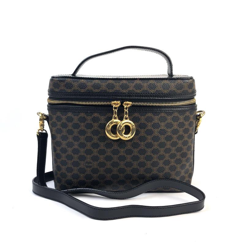CELINE セリーヌ マカダム サークル バニティバッグ ブラック vintage ヴィンテージ オールドセリーヌ ハンドバッグ