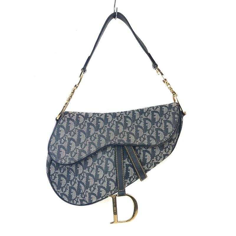Christian Dior クリスチャン ディオール トロッター サドルバッグ ハンドバッグ ネイビー vintage ヴィンテージ オールド