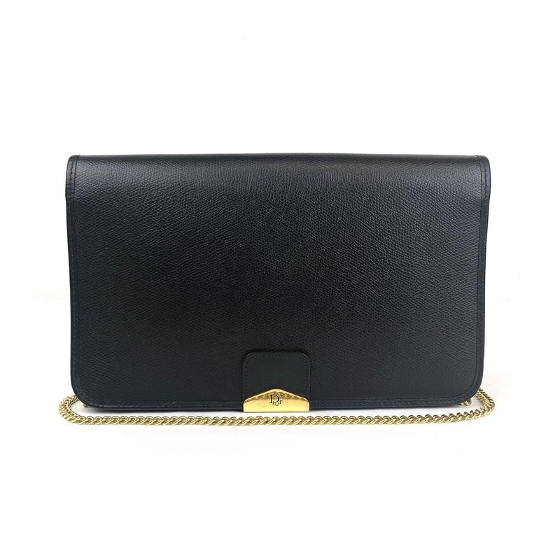 Christian Dior クリスチャン ディオール 2way チェーン ショルダーバッグ ハンドバッグ ブラック vintage ヴィンテージ オールド