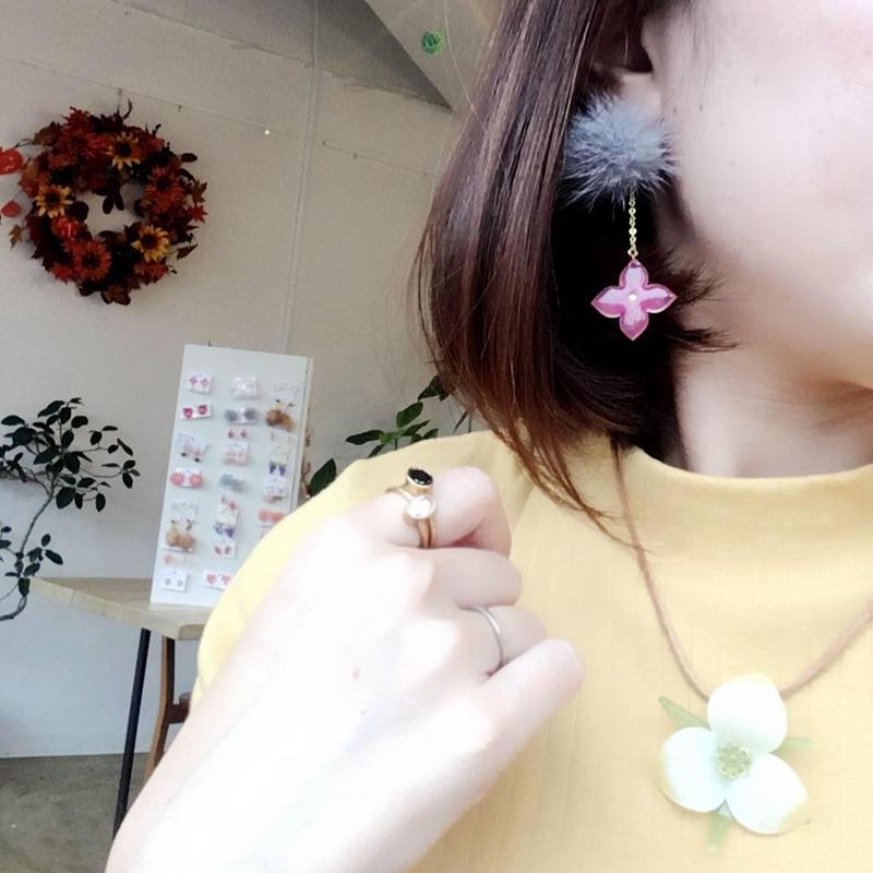 異素材MIX✽ボルドーカラーの揺れる紫陽花ファーピアス