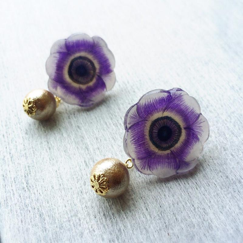 アネモネのピアス Purple Anemone×Cottonpearl