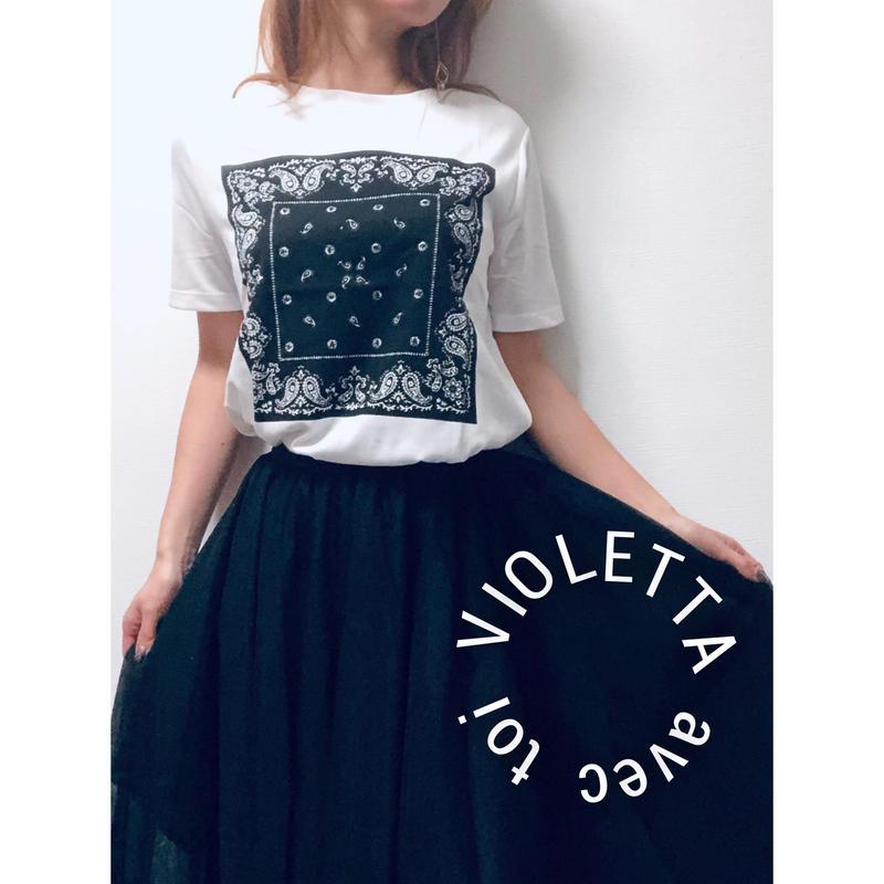 monotone※ペイズリーTシャツ