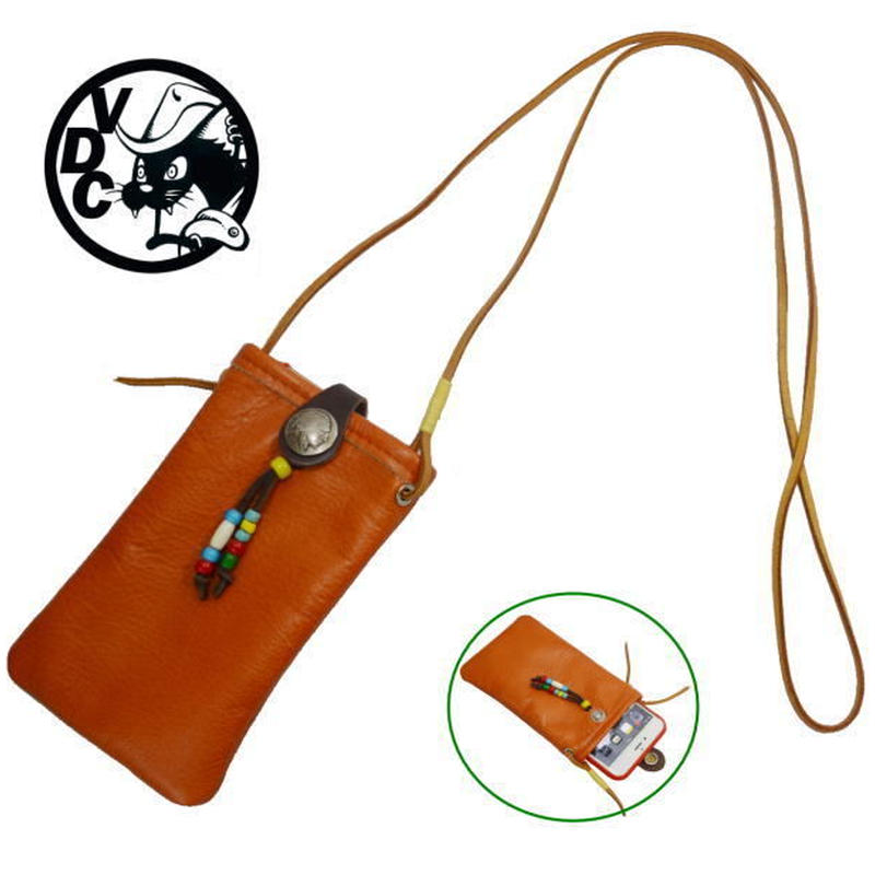 スマホショルダー 携帯ホルダー 牛革 ポシェット コンチョ付き i-phone7plus オレンジ 19040202