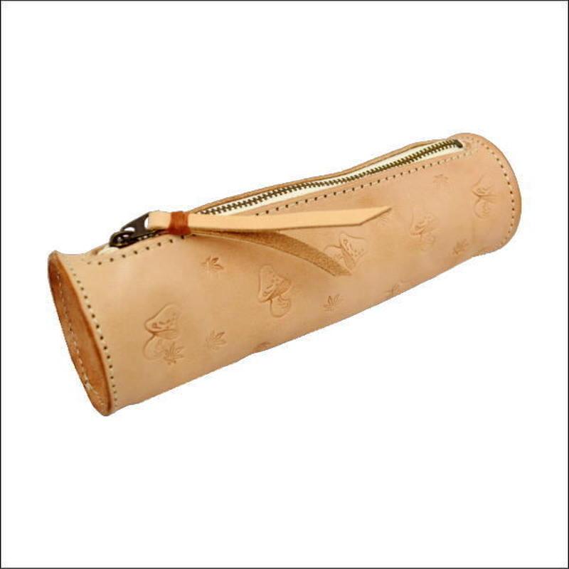 牛ヌメ革 キノコスタンピング ペンケース メンズ レディース 本革 シンプル 円筒型  10007711