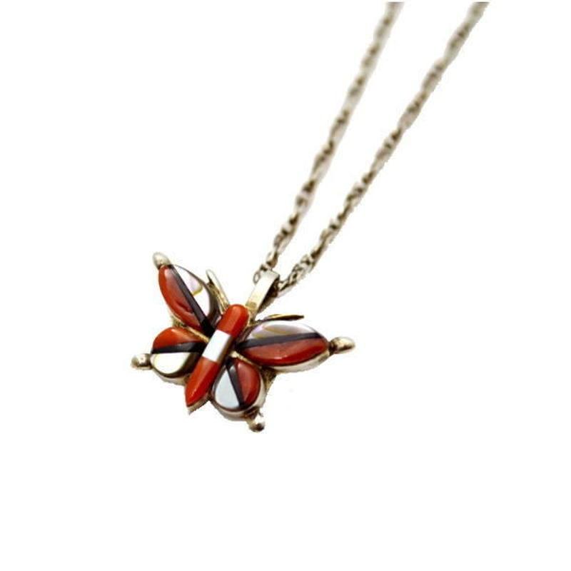 シルバーネックレス ズニ族 バタフライ(蝶々)ネックレス 10006938