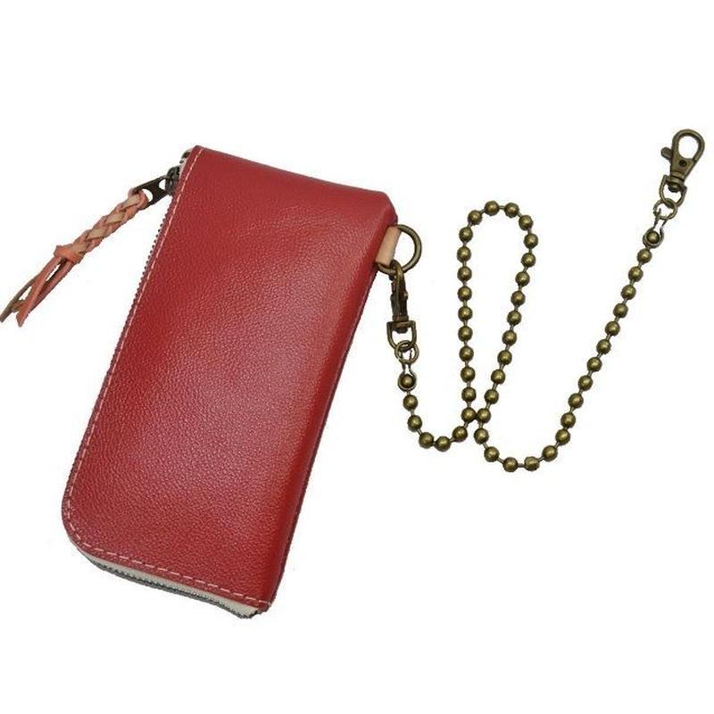 Lジップ 長財布 メンズ レディース スリムウォレット 牛革 PINK チェーン付き 19031601