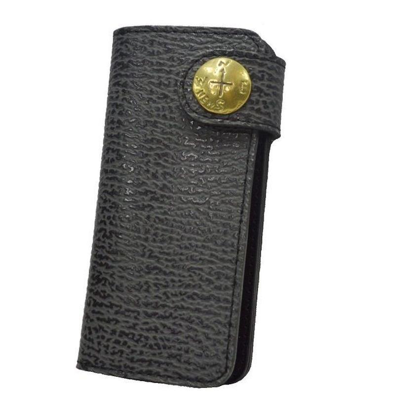 長財布 牛革 アザラシ風型押し バイカーズウォレット 真鍮コンチョ 19021402