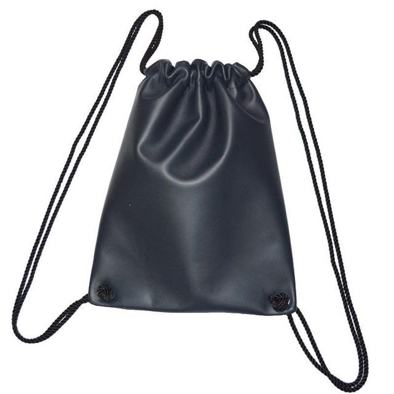 牛革 リュック ナップサック 本革 レザー 巾着型 NAVY 19042301
