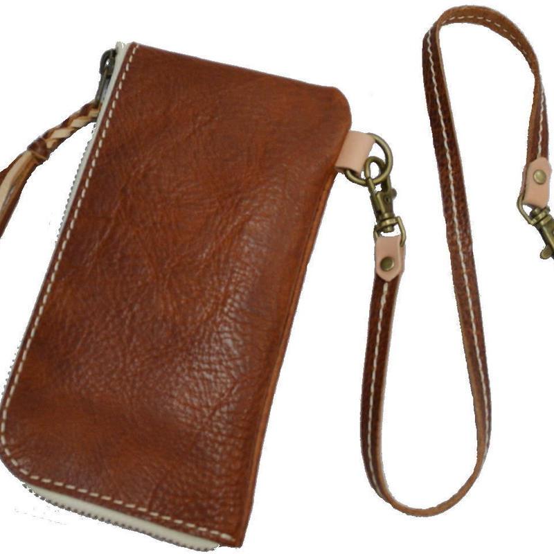 L字ファスナー 長財布 メンズ レディース 牛革 ブラウン レザーコード付き 18112801
