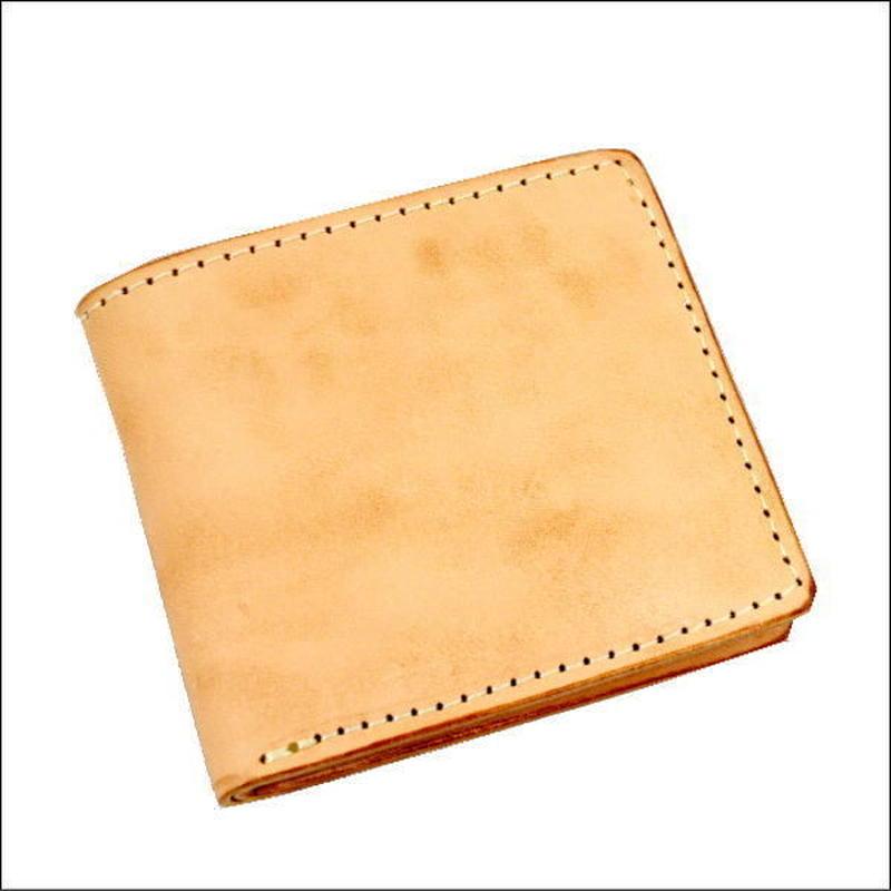 レザーウォレット(二つ折財布) 焦がし ヌメ革 小銭入れなし財布 10007700