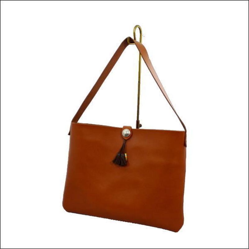 レザーショルダーバッグ キャメルブラウン メンズ レディース 本革バッグ A4ファイル対応 10007903