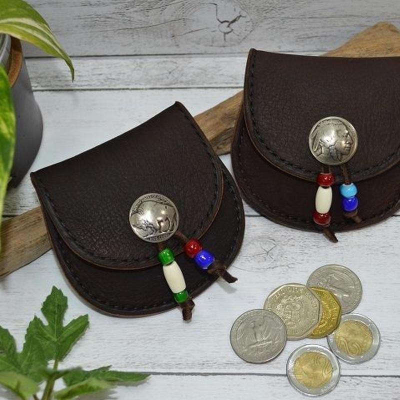 鹿革 コインケース 5セントコンチョ チョコ ネィティブ調 18072102