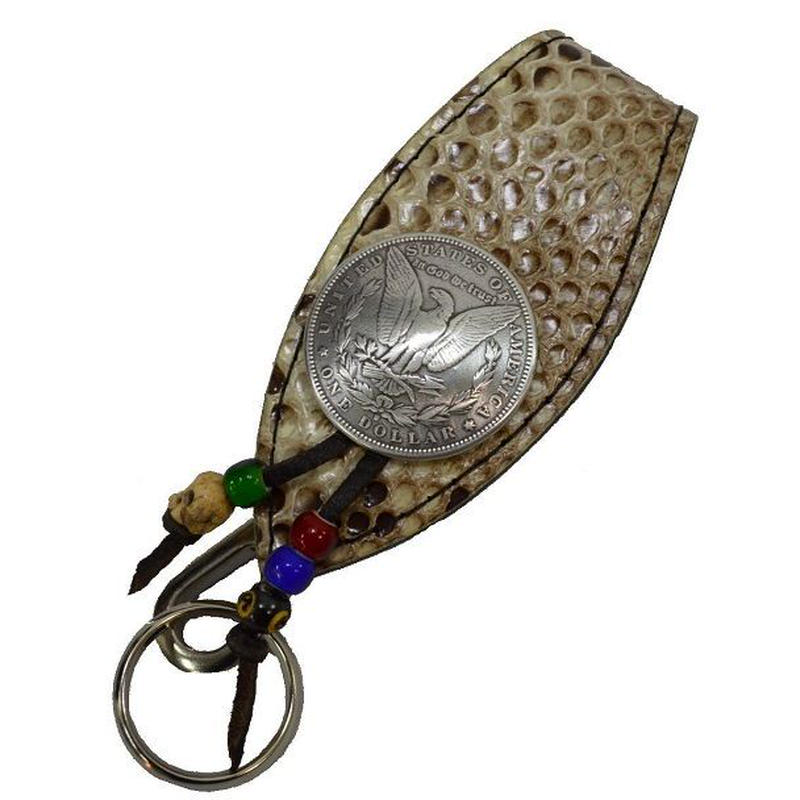 蛇革キーホルダー ヘビ革 パイソン 牛革 ベルトループ ナチュラル 1$