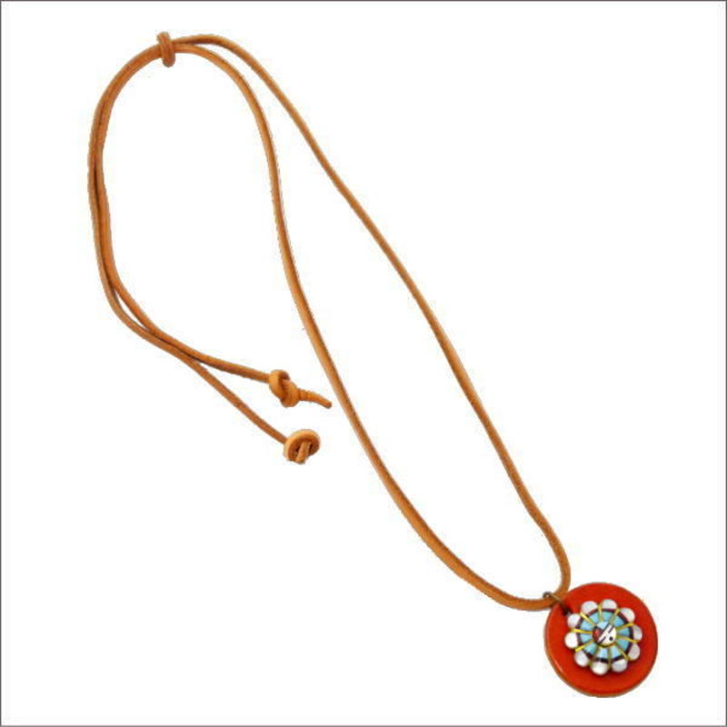 サンフェイスコンチョ レザー チョーカー レッド ネックレス サンフェイスネックレス オリジナルカスタムメイド 10006782