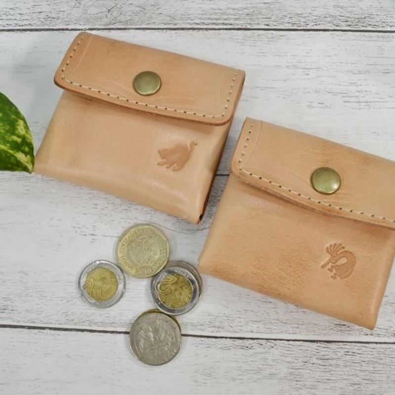 牛革 コインケース ポケットサイズ 小銭入れ ヌメ革 ワンポイント ネコ&ココペリ 18081903