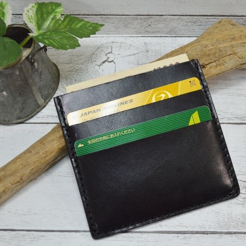 栃木レザー コンパクトウォレット お札とカードだけ BLACK 18102901
