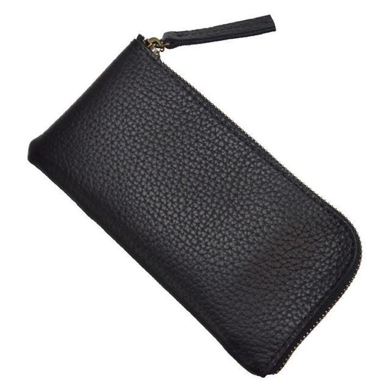 Lジップ 長財布 メンズ 牛革 シンプル BLACK 19040902