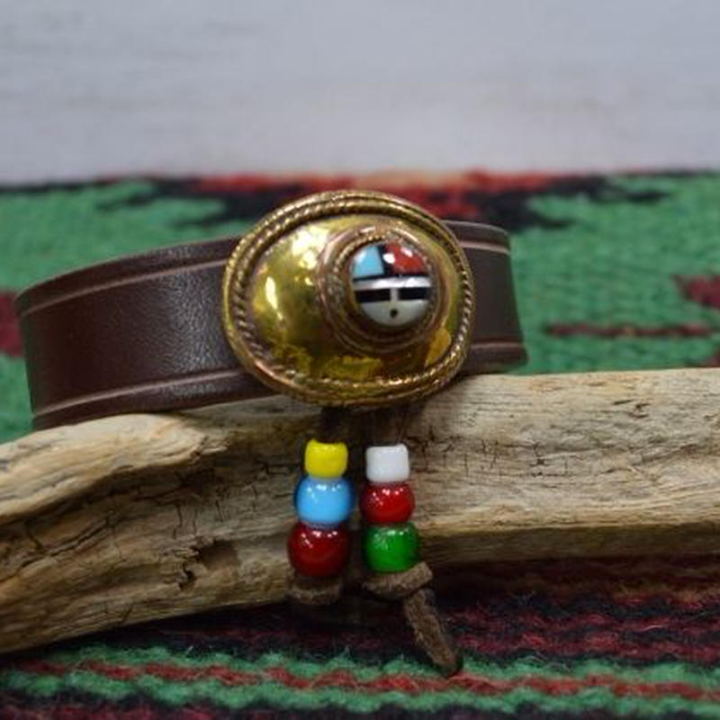 レザー ブレス 牛革 サンフェイス 真鍮コンチョ ブラウン 18051704