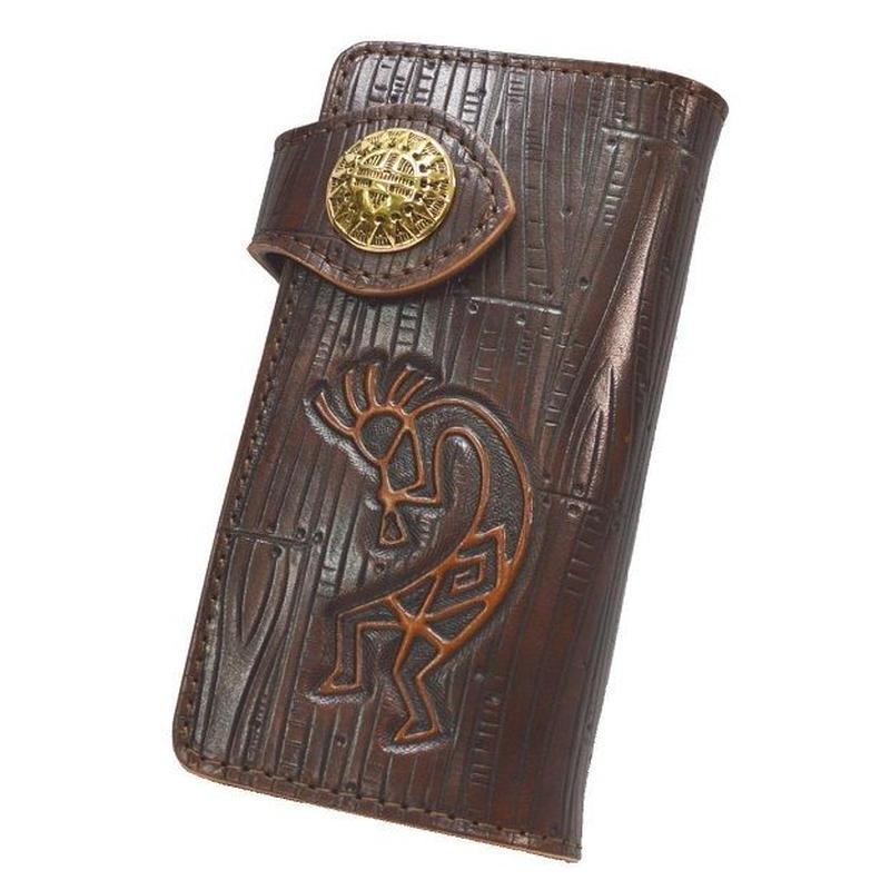 長財布 牛革 ココペリ カービング ハンドクラフト ブラウン 真鍮コンチョ 18090802