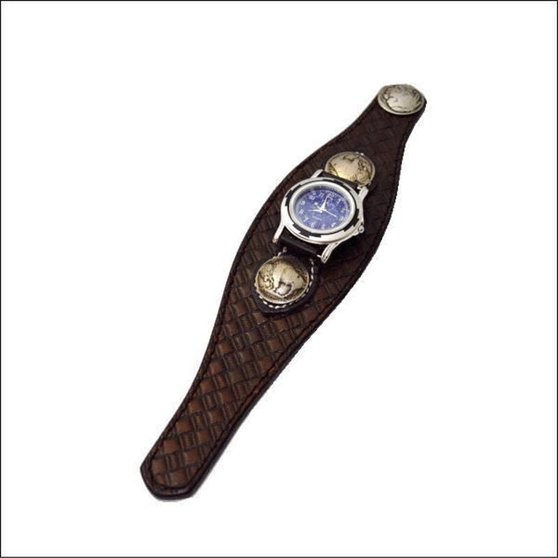 レザー(牛革)バスケットクラフト腕時計 (リストウォッチ)ダークブラウン 10006665