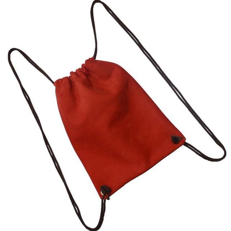 牛革 リュック ナップサック 本革 レザー 巾着型 ヌバック レッド19030801