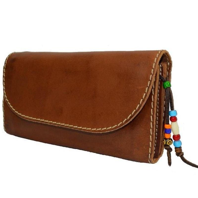 財布 レディース 収納力のある長財布 ウォッシュ加工 ブラウン 18100401