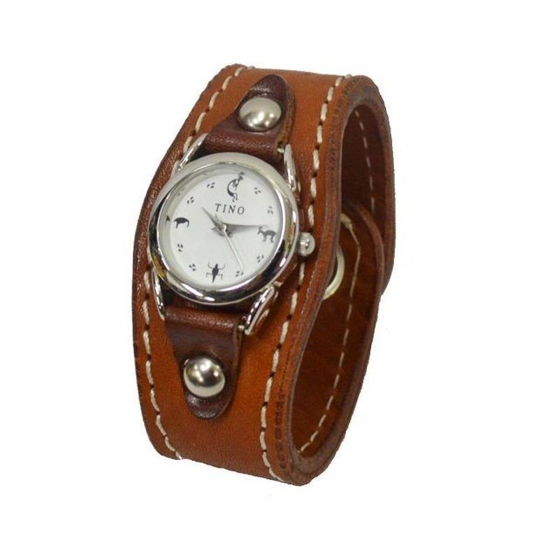 腕時計 レディース リストウォッチ 牛革 シュリンクレザー ブラウン 19021102