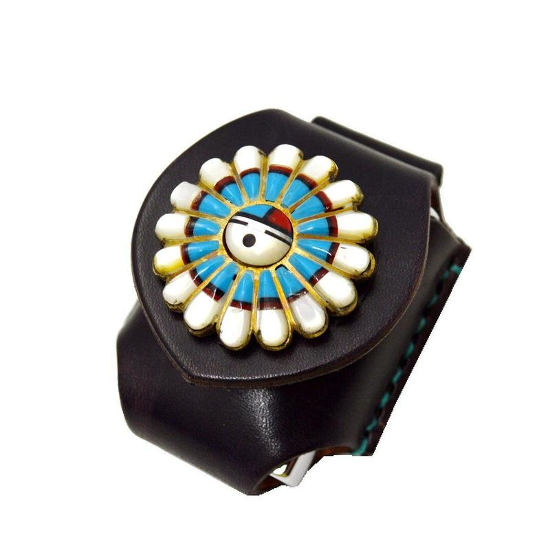 レザー(牛革)サンフェイスコンチョ ZIPPOライターケース(ホルダー)ベルトループ用 10006835