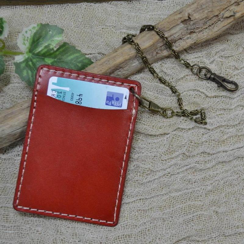 パスケース 牛革 本革 革 レザー チェーン付き RED 18103102