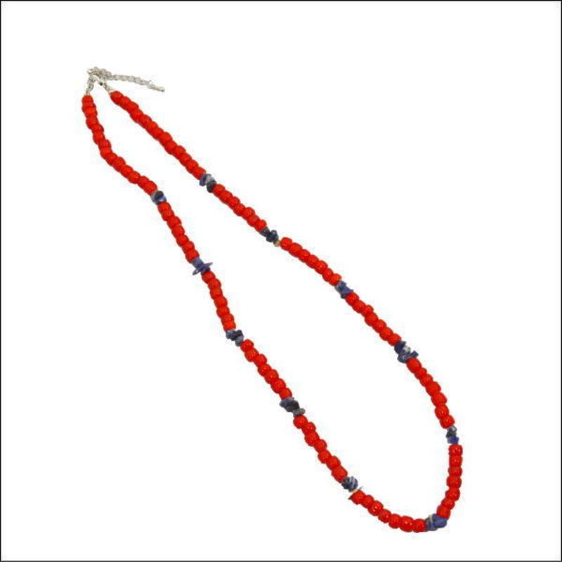 インディアン ビーズ ネックレス ホワイトハート ラピス アンティークビーズ   10007911