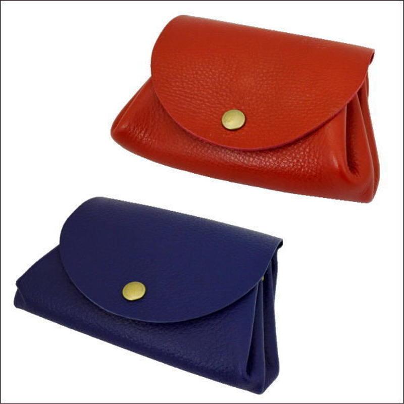 本革 化粧ポーチ 牛革小物入れ レディース コスメポーチ RED BLUE 日本製 10007594