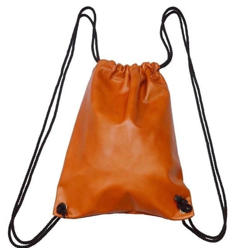 牛革 リュック ナップサック 本革 レザー 巾着型 オレンジカラー 19040301