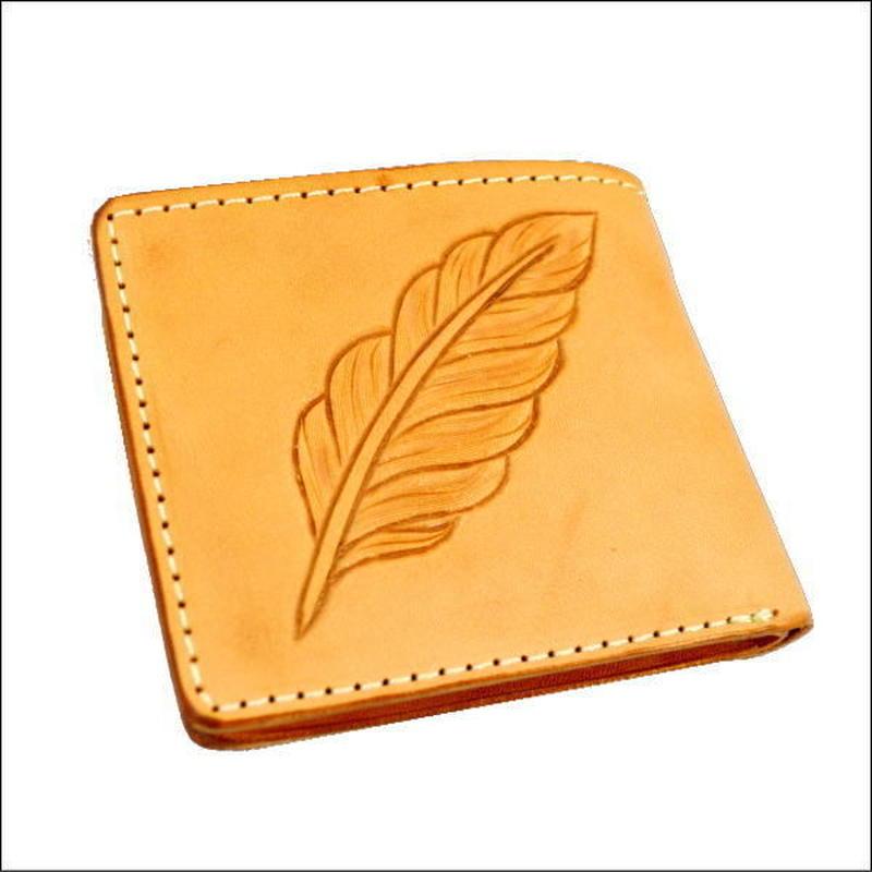 フェザーカービング レザーウォレット(二つ折財布) 焦がし ヌメ革 小銭入れなし財布 10007954