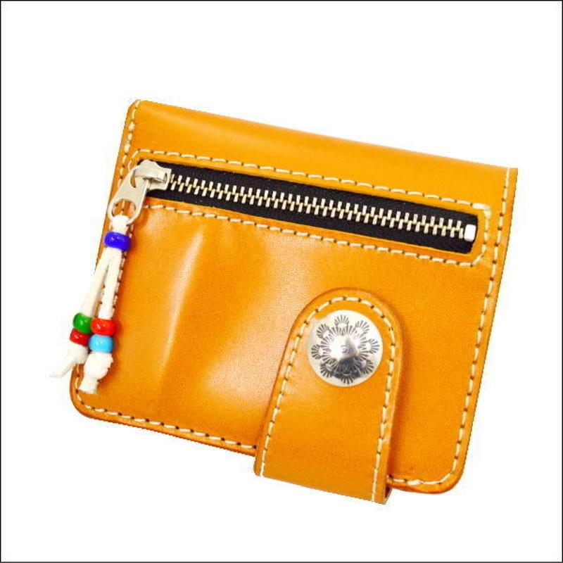 レザーウォレット(二つ折財布) キャメル シルバーコンチョ 10007480