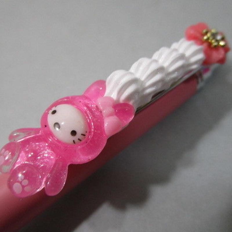 うさデコホイップ クリアピンク/ピンク お花とピンクボールペン豪華