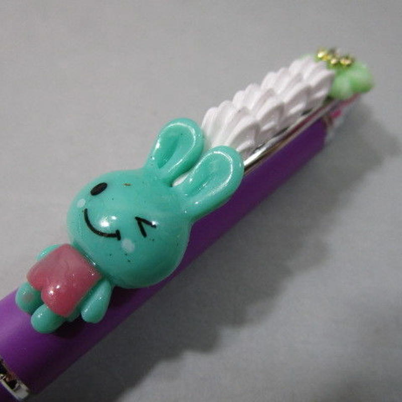 うさデコホイップ グリーン/グリーン お花とパープルボールペン豪華版