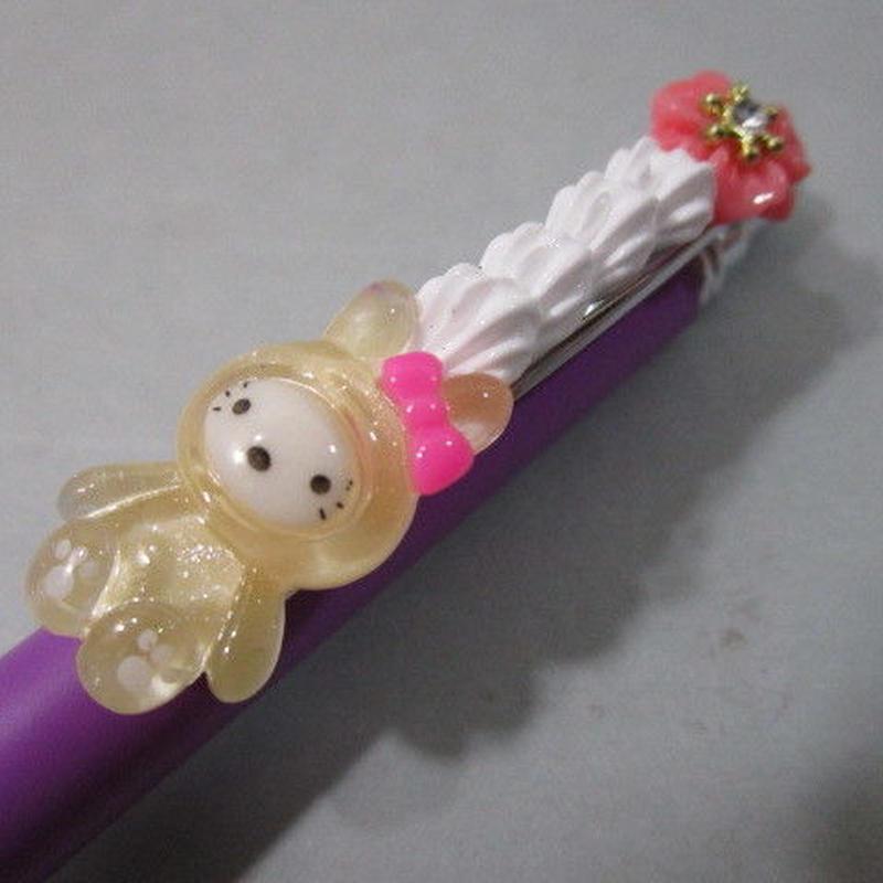うさデコホイップ クリアー/ピンク お花とパープルボールペン豪華版