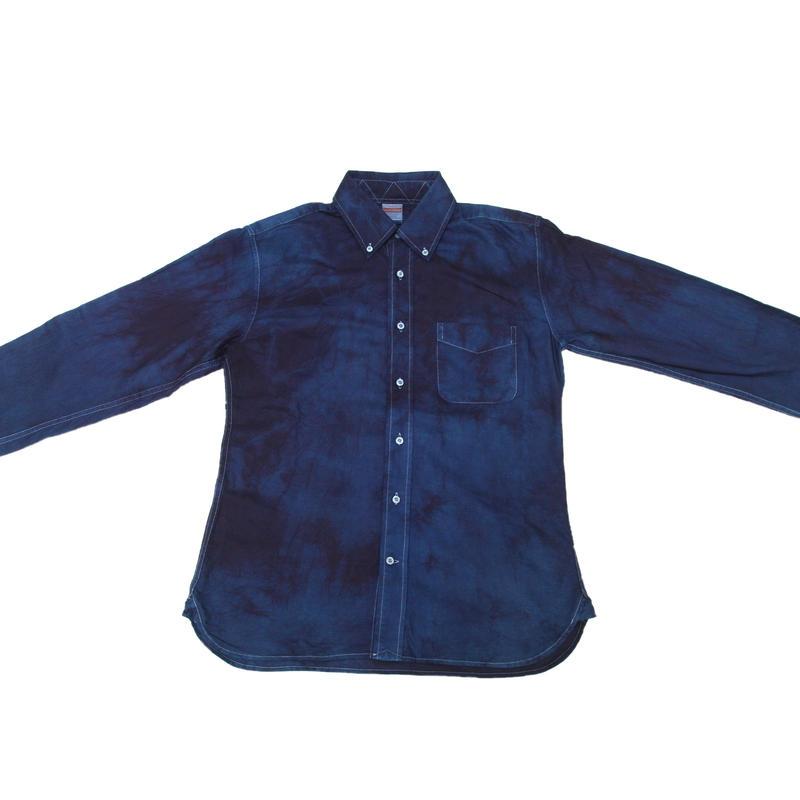 藍染めワイシャツ 二度染め絞り模様
