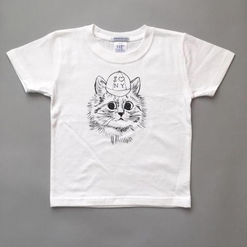 New York Cat T-Shirts For Kids WhiteニューヨークキャットキッズTシャツ ホワイト