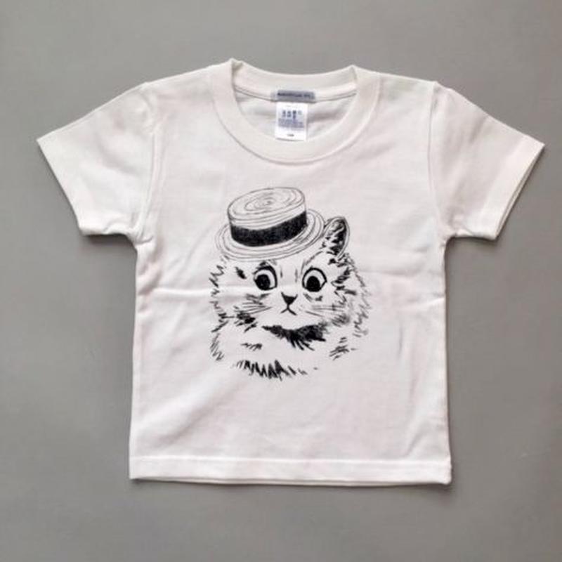 London Cat T-Shirts For Kids WhiteロンドンキャットキッズTシャツ ホワイト
