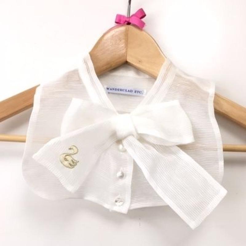 SAMPLE SALE! Swan Hand Embroidery Ribbon Collar サンプルセール!手刺繍スワンリボンカラー