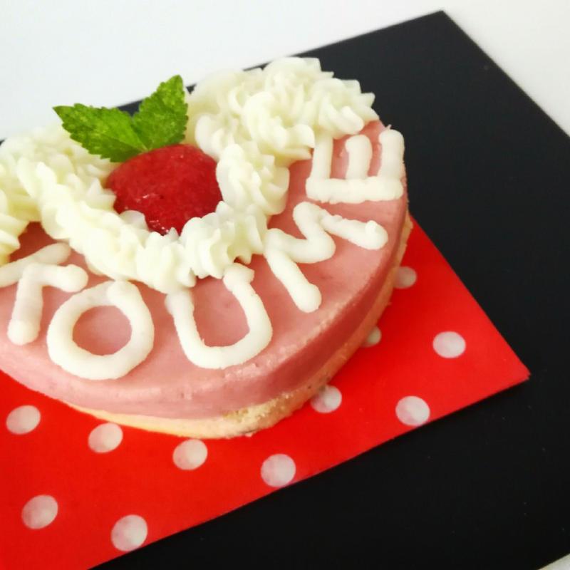 お名前入り★犬用ケーキ苺ピンクハートの米粉ケーキ