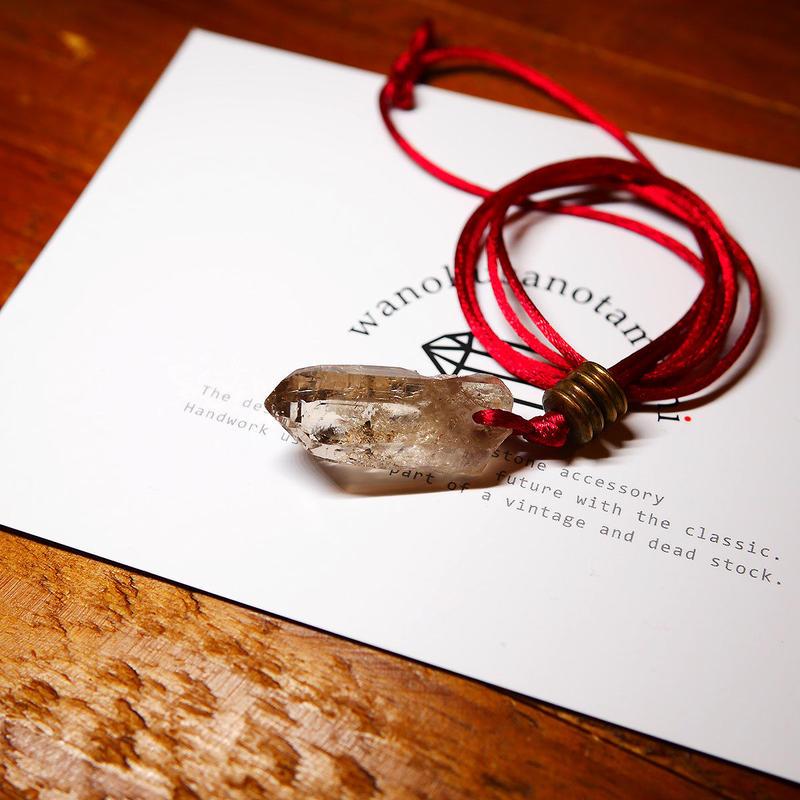 ガウリシャンカール産ヒマラヤ水晶(ライトスモーキー・クリア)真鍮パーツネックレス D