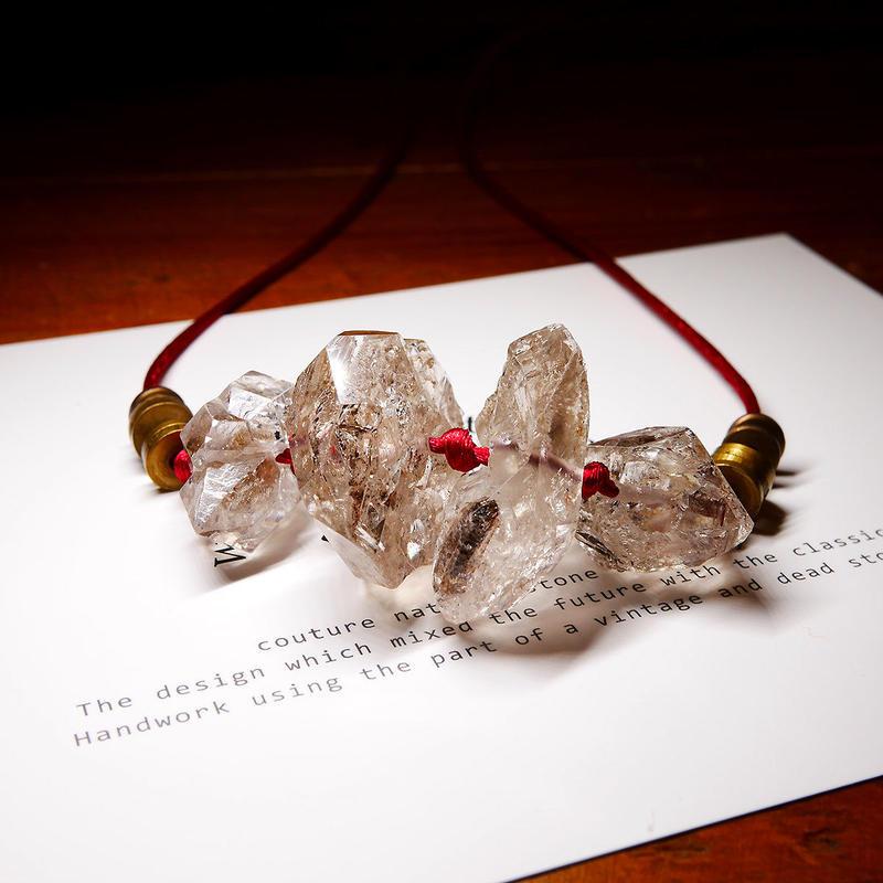 ダブルポイントクリスタル ネックレス 真鍮パーツ A