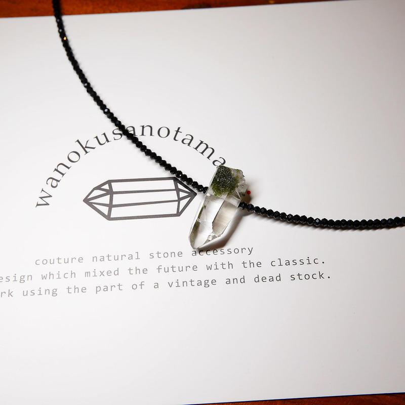ガネーシュヒマールヒマラヤ水晶(クローライト)・ブラックスピネル ネックレス