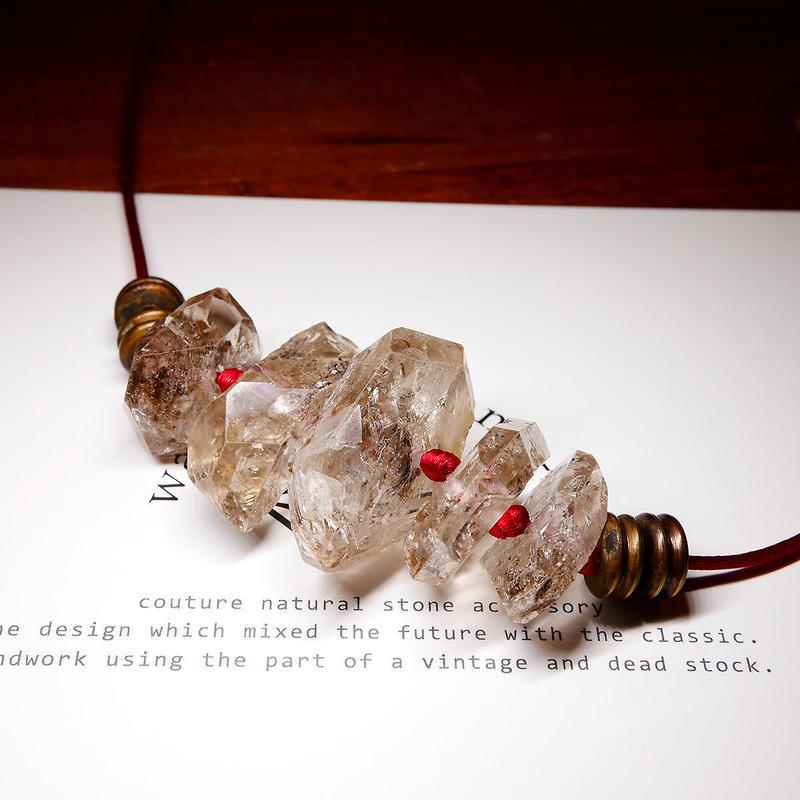 ダブルポイントクリスタル ネックレス 真鍮パーツ F