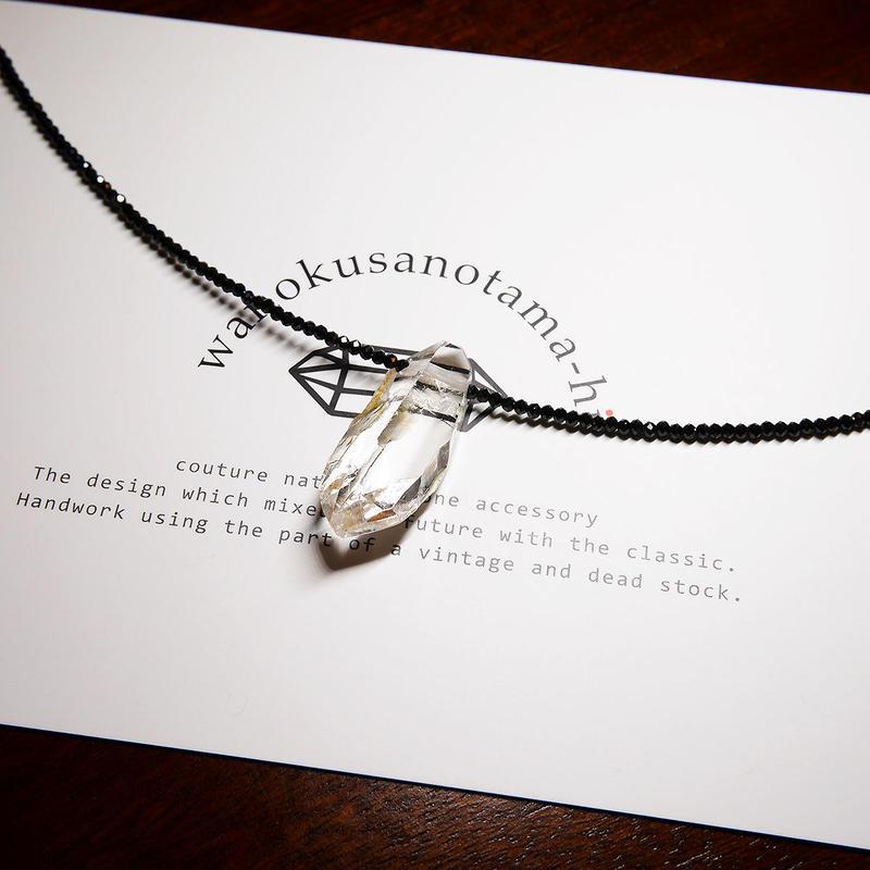 ガネーシュヒマールヒマラヤ水晶・ブラックスピネル ネックレス