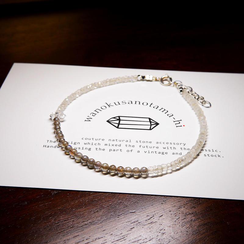 レインボームーンストーン・ラブラドライト・ハーキマーダイヤモンド アンクレット B