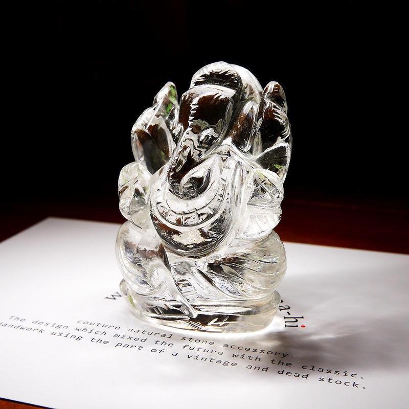 幸運の神ガネーシャ神像  GH8B インド、クル産ヒマラヤ水晶