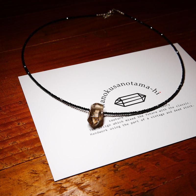 ガウリシャンカール産ヒマラヤ水晶・ブラックスピネル ネックレス